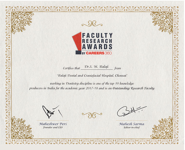 Research Faculty Award - Prof. Dr. S.M Balaji