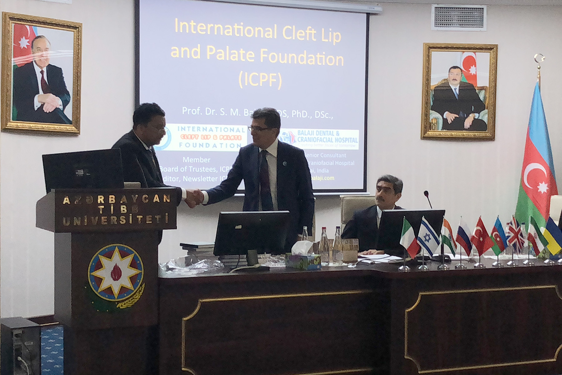 Dr Sm Balaji With Dr Chingiz Rahimov At The Beginning Of His Introductory Talk About The International Cleft Lip And Palate Foundation (Icpf)