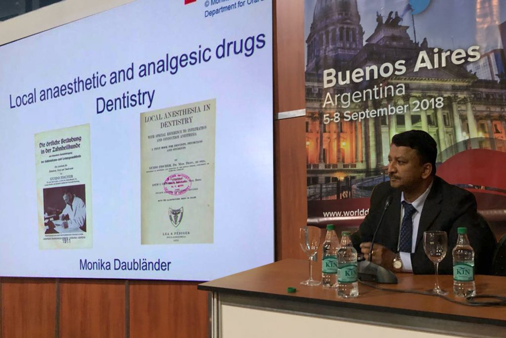 Dr Sm Balaji Moderating The Scientific Session On Local Anesthetics And Analgesic Drugs In Dentistry By Dr Monica Daublaender Of The Johannes Gutenberg University Of Mainz, Germany
